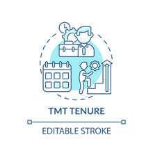 Tmt Tenure Concept Icon. Top Management Team Analysis Criteria. Previous Working Experience. Working Idea Thin Line Illustration. Vector Isolated Outline RGB Color Drawing. Editable Stroke