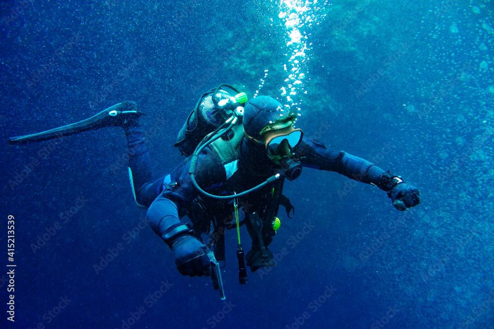 Fototapeta Scuba diver in the middle of bubbles