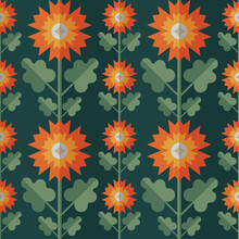 Decorative Background Design. Flowers And Leaves Mid-century Modern Vector Artwork. Abstract Geometric Seamless Pattern. Decoration Floral Ornament In Retro Vintage Design Style.