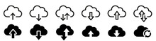 Cloud Download And Upload Icon. Upload Download Cloud Arrow. Line Style. Download Cloud Computing Outline And Filled Vector Sign. Download Symbol.
