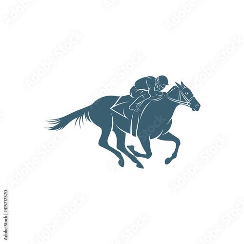 Fototapeta Horse racing design vector illustration, Creative Horse race logo design concepts template, icon symbol obraz