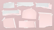 Set Of Torn Pink Note, Notebook Paper Pieces With Folded Corners Stuck On Pink Background. Vector Illustration