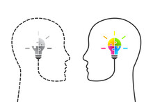 Human Head Made Of Dotted Line And Jigsaw Puzzle Light Bulb Missing A Piece In Comparison With Continuous Profile Line And Complete Lightbulb As Idea, Solution Or Innovation Concept