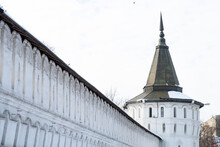 The High Wall And The White-stone Nagornaya Tower Of The Danilov Monastery In Moscow