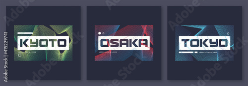 Slika na platnu Set of abstract geometric t-shirt vector designs, graphic prints
