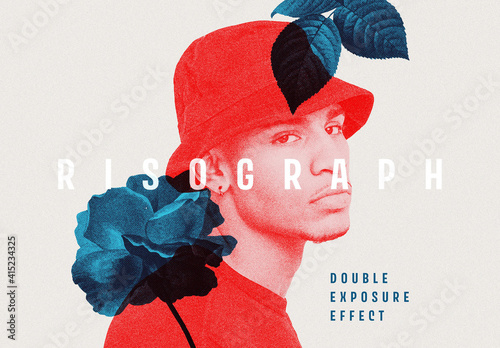 Fototapeta Risograph Double Exposure Photo Effect Mockup obraz