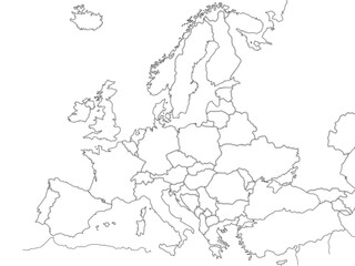 Europe political map sketch for coloring