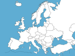 Europe political map sketch with blue sea for coloring