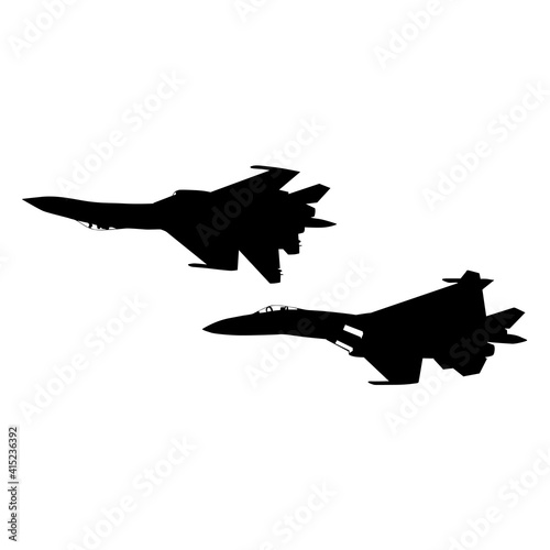 Fotografiet Set silhouette military combat airplane on a white background