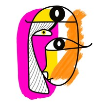 Surreal Face In Picasso Style.