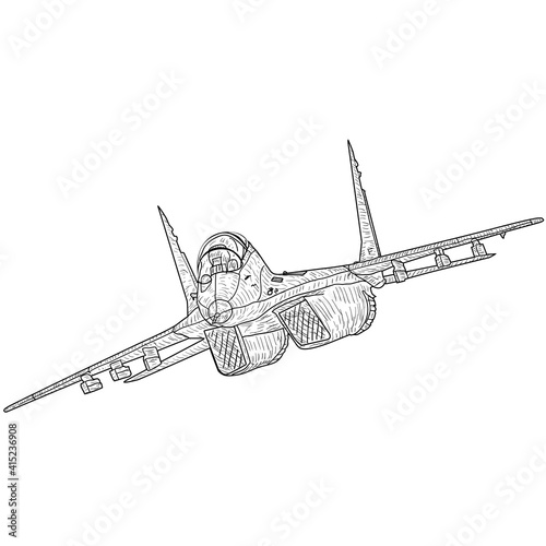 Tela Silhouette military combat airplane on a white background