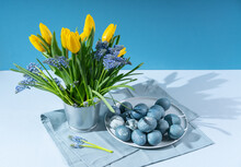 Yellow Tulips, Muscari In Decorative Bucket, Plate With Easter Eggs On Gray Kitchen Napkin. A Modern Still Life With Hard Shadows.