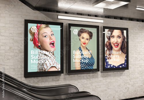 Fototapeta Billboards on Subway Station Wall Mockup obraz