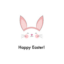 Cute Bunny Ears With Pink Plaid Pattern Ears. Happy Easter Greeting Card
