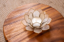 Candle Holder Made Of Metal And Glass As A Lotus Flower