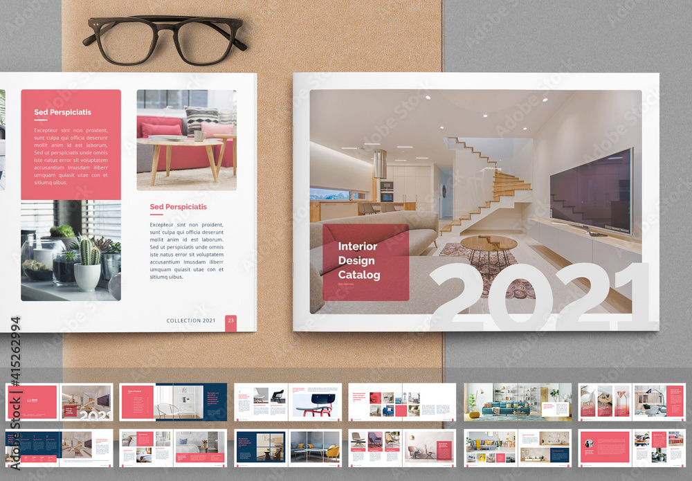 Fototapeta Interior Catalog Layout with Pink Accents