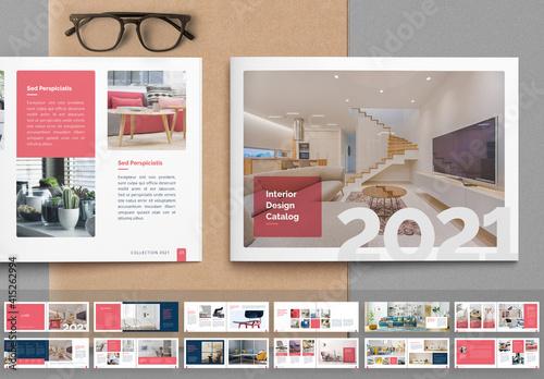 Fototapeta Interior Catalog Layout with Pink Accents obraz