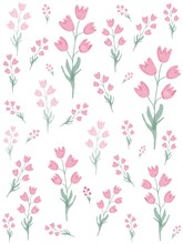 Dainty Bell Flowers On Stems Wallpaper On Pink And White Background (digital Illustration)