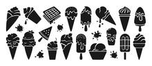 Ice Cream Black Glyph Set. Chocolate, Vanilla Cartoon Ice Cream Cone Fruit, Mint, Berry. Kawaii Icon Summer Collection Sweet Food And Splash. Watermelon On Stick. Isolated Dessert Vector Illustration