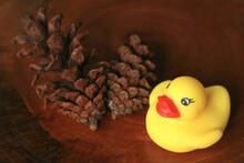 Miniature Cute Duck Game For Decoration<br> Plastic, Toy, Bird, Texture, Interior, Room, Home, Design, Furniture, Art, Wood, Craft, Artwork, Unique, Vintage, Rustic, Outdoor, Building, Architecture, A