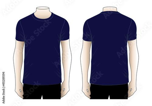 Fotografia Men's Blank Navy Blue T-Shirt Vector For Template