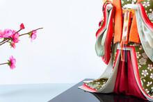 A Doll Wearing A Japanese Kimono. Hina Dolls, Hinamatsuri. 日本の着物を着た人形。ひな人形、ひな祭り。