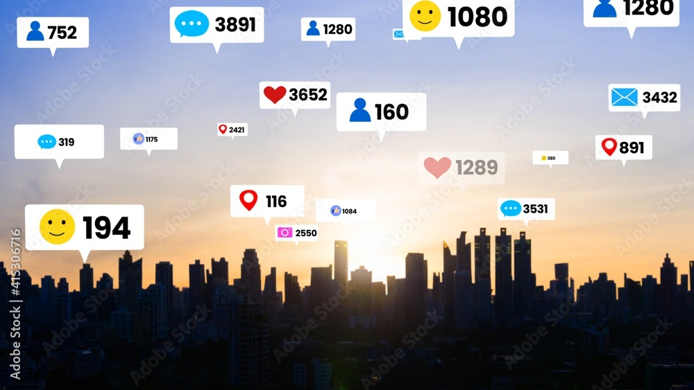 Fototapeta Social media icons fly over city downtown showing people engagement connection through social network application platform . Concept for online community and social media marketing strategy .