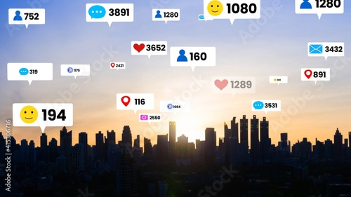 Fototapeta Social media icons fly over city downtown showing people engagement connection through social network application platform . Concept for online community and social media marketing strategy . obraz