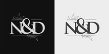 ND Initial Logo, Ampersand Initial Logo With Hand Draw Floral, Initial Wedding Font Logo Isolated On Black And White Background.