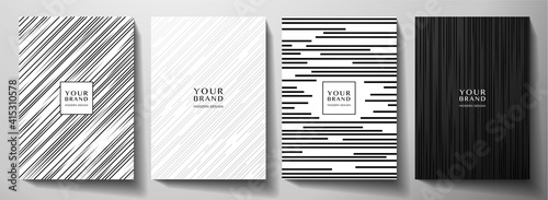 Obraz Modern white and black cover design set. Luxury creative dynamic diagonal line pattern. Formal premium vector background for business brochure, poster, notebook, menu template  - fototapety do salonu