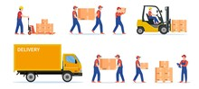 Warehouse Workers With Parcels Boxes, Delivery And Shipping, Workers Carrying Parcels, Forklift Truck Loading Or Unloading To Delivery Car. Vector Illustration In Flat Style