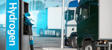 Self Service Hydrogen Filling Station On A Background Of Trucks