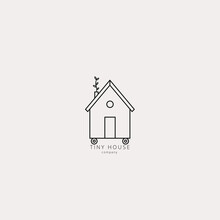 Vector Illustration Of Tiny Little House In Linear Style. Eco Green Home On Wheels. Logo, Emblem, Icon, Badge Design Template.