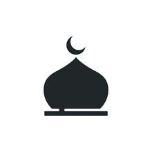 Muslim Mosque Domes Icon. Islamic Worship Place, Islam Prayer Room For Religion And Ramadan Symbol For Web Mobile. Moslem Praying  In Glyph Style. Vector Illustration Design On White Background EPS 10