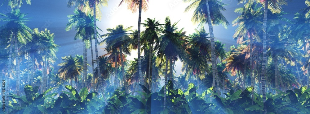 Fototapeta Palm trees in the sun, a grove of palm trees in the morning in the fog, sunlight in the branches of palm trees, 3D rendering