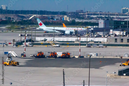 Fototapeta premium Ontario, Canada, Toronto Pearson International Airport. Feb 20, 2021. primary international airport serving Toronto, Golden Horseshoe.