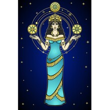 Cartoon Color Drawing: Woman In A Horned Crown Holds Stars, A Character In Assyrian Mythology. Full Growth. Ancient Goddess. Ishtar, Astarta, Inanna. Vector Illustration Isolated On A Dark Background.