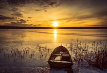 Beautiful Sunset On The Frozen Winter Lake, Zalew Zemborzycki Lublin Poland