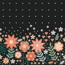 Embroidered Flowers And Dots. Beautiful Seamless Border. Print For Fabric, Textile, Clothes.