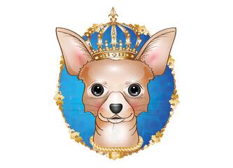 königlicher Chihuahua Hund mit goldener Krone