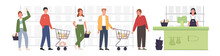 People Standing In Line And Waiting In Grocery Shop. Men And Women Waiting In Retail Store Or Supermarket With Their Grocery Baskets. Vector Illustation Concept