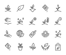 Vector Set Of Plant Line Icons. Contains Icons Seedling, Seeds, Growing Conditions, Leaf, Growing Plant And More. Pixel Perfect.