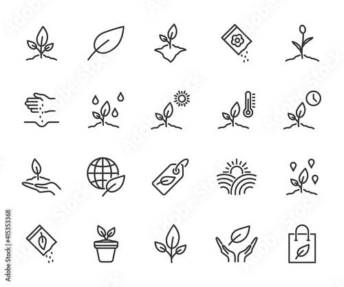 Obraz na plátně Vector set of plant line icons
