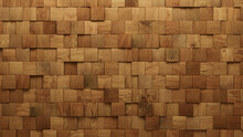 Wood Block Wall Background. Mosaic Wallpaper With Light And Dark Timber Square Tile Pattern. 3D Render