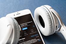 Minsk, Belarus - 18 February 2021 Clubhouse Audio App On Appstore With Headphones. New Popular Audio Talks Social Media