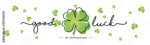 Photo Good Luck St Patrick's Day handwritten typography lettering line design four lea