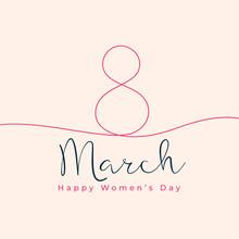 Happy Women's Day Line Style Background Design