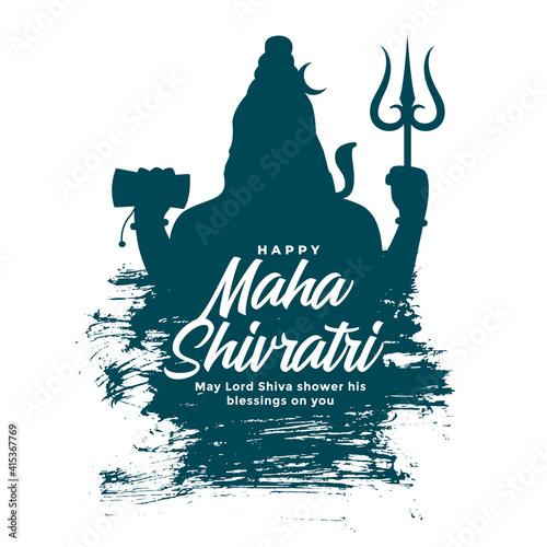 Obraz na plátně maha shivratri background with lord shiva silhouette