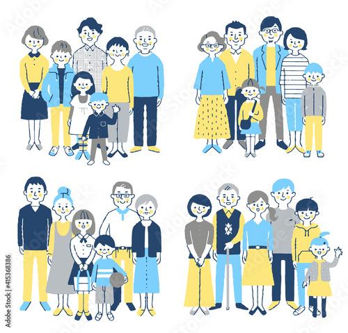 Tela 4組の3世代家族 セット