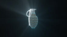 3d Rendered Illustration Of The Mk2 Grenade Hologram In Black Isolated Background. High Quality 3d Illustration